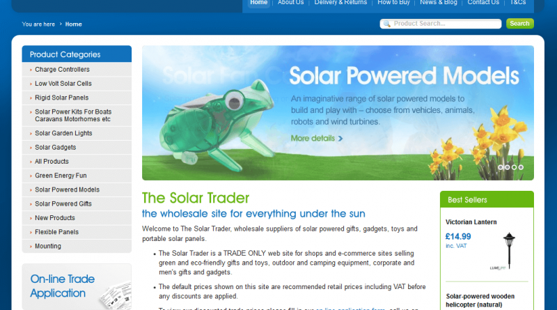 The Solar Trader website